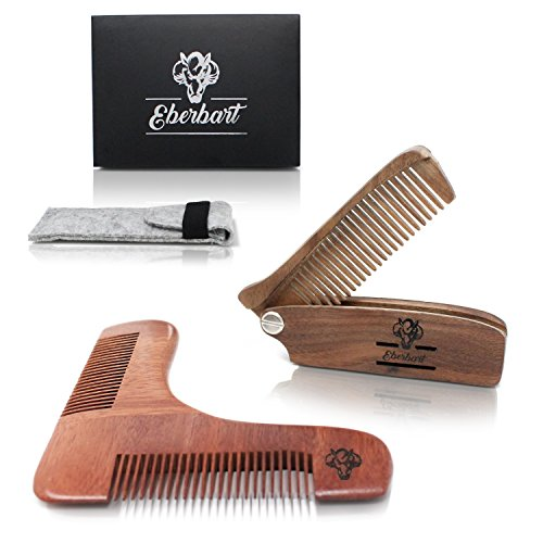 Eberbart Bartkamm (klappbar) inkl. Filz-Etui + Bartschablone – Anti-statischer, faltbarer Taschenkamm aus Holz für die Bartpflege zu Hause und unterwegs (3-teiliges Set)