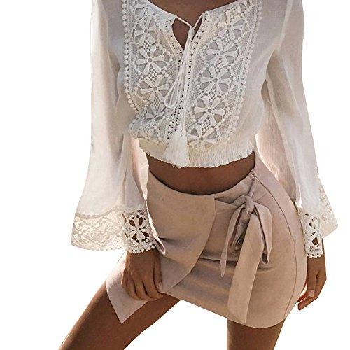 Frauen Langarm Bluse, FGHYH Frauen Sommer Langarm V-Ausschnitt Lose Bluse Damen Casual Lace T Shirt Tops(L, Weiß) -