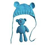 Neugeborene Fotoshooting Kostüm Baby Häkel Hut Mütze mit Bär (Blau, 0-6 Monate)