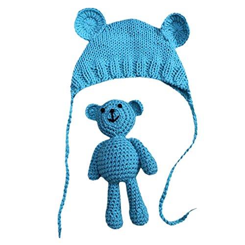 Bär Kostüm Blau - Neugeborene Fotoshooting Kostüm Baby Häkel Hut Mütze mit Bär (Blau, 0-6 Monate)