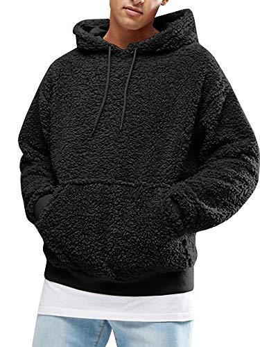 Gemijacka Herren Kapuzenpullover Plüsch Hoodie Sweatshirt Teddy-Fleece Mit Taschen Fleece Sweatshirt Hoodie