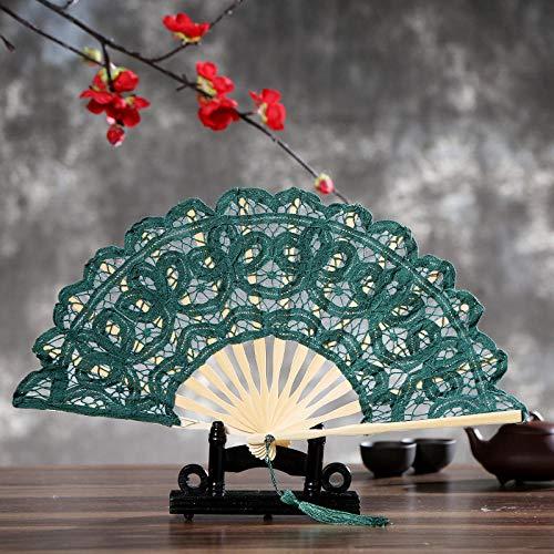 XIAOHAIZI Handfächer,Der Sommer Damen Bambus Ventilator Grün Lace Flower Pattern Vintage Folding Lüfter Geeignet Für Hochzeit Lady Gift Tanz Ventilator U-Bahn Folding Fan