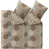 4-tlg. Bettwäsche 135x200 Baumwolle, Trend Fara Punkte Streifen natur beige blau braun Wendedesign aqua-textil 0011840