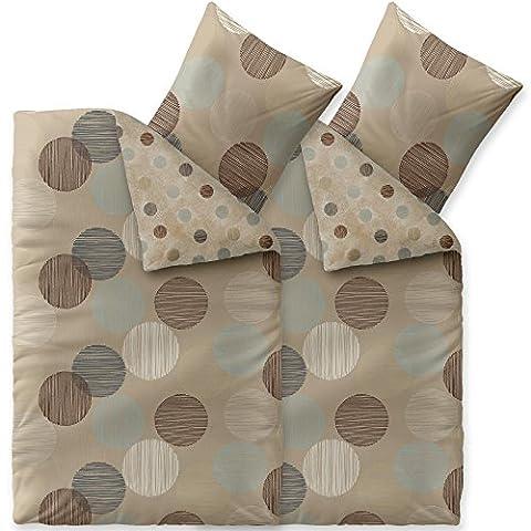4 tlg Baumwolle Bettwäsche 155x220, mit Reißverschluß atmungsaktiv waschbar Bettwäsche Set mit 80x80 Kissen Bezug,Öko-Tex Bettwäschengarnitur Bettbezug mit Kopfkissen Bezug, aqua-textil Trend Fara 0011852 natur beige blau