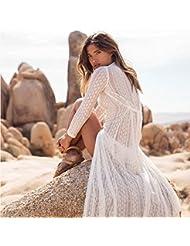 qxj Alto grado de encaje jacquard playa blusa, vestidos de sol vacaciones Wear