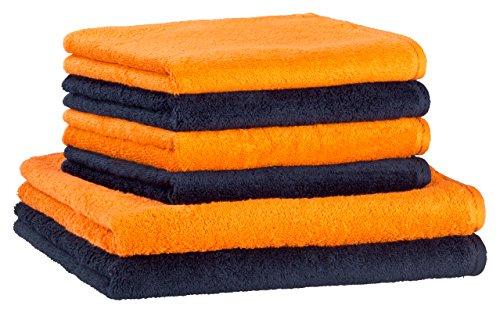 Floringo premium Handtuchset Handtuch Set 6-teilg Profi-Star 500g/m² (nachtblau / ziegel)