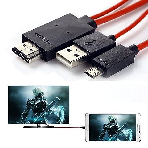 Handy zu TV Kabel, 6,5Füße Micro USB zu HDMI Kabel MHL auf HDMI 1080P HDTV Adapter-Kabel für Samsung Galaxy Galaxy S5/S4/S3/Note 3Galaxy Tab 38.0, Tab 310.1, Tab PRO, GALAXY NOTE 8, Note Pro
