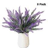 Pauwer 8Künstliche Seide Lavendel Blumen, Plastik, Violett/Lavendel, 8 Pcs