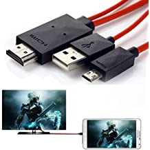 Teléfono a TV conector 6,5pies Micro USB de 11pines a HDMI cable adaptador 1080P HDTV para SamsungGalaxy S5, S4, S3, Galaxy Tab 38.0, Tab 310.1, Tab Pro, color rojo