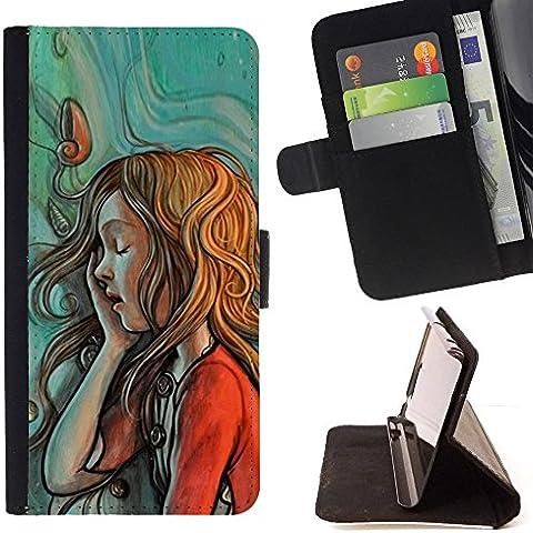 All Phone Most Case / Cellulare Smartphone cassa del cuoio della calotta di protezione di caso Custodia protettiva per SAMSUNG GALAXY J3 PRO // painting sketch mint red green redhead