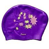 Vertive Damen Bademütze Wasserdichte Silikon für Lange Haare gesund und warm Swim Cap badehaube (Lila Stern, One Size)