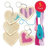 Baker Ross Wooden Heart Cross Stitch Keyring Kits for Beginners (Pack of 5) Embroidery Set with Thread for Kids