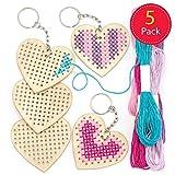 Baker Ross AR126 Schlüsselanhänger-Bastelsets mit Kreuzstich-Holzherzen für Kinder zum Basteln und Verzieren zum Valentinstag und Muttertag (5 Stück)