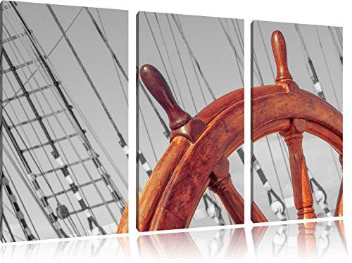 hölzernes Steuerrad auf einem Schiff schwarz/weiß auf 3-Teiler Leinwandbild 120x80 Bild auf Leinwand, XXL riesige Bilder fertig gerahmt mit Keilrahmen, Kunstdruck auf Wandbild mit Rahmen, gänstiger als Gemälde oder Ölbild, kein Poster oder Plakat