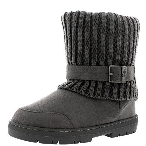 Damen Knitted Cardy Cuff Schnalle Strap Winter Schnee Warm Pelz Gefüttert Stiefel Grau Gestrickt