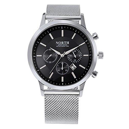 OverDose Nord Kalender Quarz Armbanduhr Edelstahl Armband Mann Uhr (Schwarz)