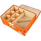 UberLyfe 6 Cell Drawer Closet Divider Storage Box with Lid (Color: Orange) - Clearance Sale - UW-000168-ORWL6C