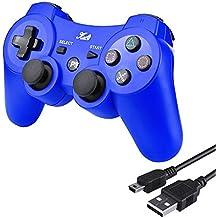 Controlador inalámbrico Bluetooth de Kabi para PS3 con vibración dual de 6 ejes, controlador para Playstation 3, incluye cable de carga azul azul