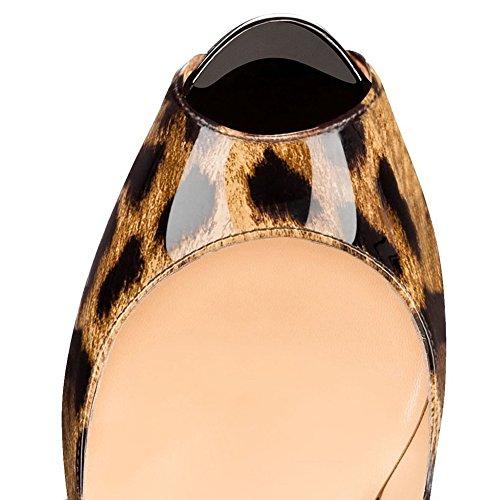 Cuckoo Damen Peep Toe High Heels Office Schuhe Klassische Slip auf Dress Party Pumps Leopard