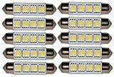 AERZETIX: 10 x Bombillas blanco C5W 12V 4LED SMD 41mm con efecto Xenon para iluminacion interior, luz del techo, luces umbrales de puertas, del compartimiento del motor y del maletero, luz de matricula