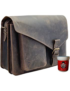 FREIHERR VON MALTZAHN Große Umhängetasche, Schultertasche GANDHI aus braunem BIO-Leder mit Lederpflege, Made in...
