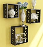 Home Sparkle Sh686 Wall Shelf, Set of 3 (Lacquer Finish, Black)
