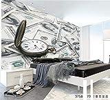Ytdzsw Murales Fotografici 3D Parete Con Moneta Dollaro E Orologio Da Tasca Per Camera Da Letto E Divano Sfondo Vinile 3D Murale Affresco-450X300Cm