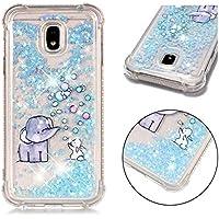 Funda Samsung Galaxy J3 2017, JINCHANGWU Cubierta de Silicona TPU Transparente de Gel Suave, Liquid Quicksand Lujo Bling Glitter Sparkle Diamond Shockproof (Elefante)
