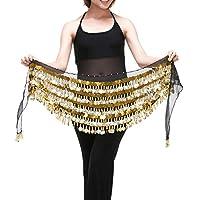 Saymequeen Chiffon Belly Dance Costume Waist Chain Hip Scarf Wrap Belt (black)