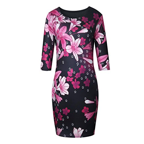 Robe Femme, Koly Rayure Sea Spirit Machaon En Vrac Grande Taille T-Shirt Mini Robe (L/FR 38) Rose vif
