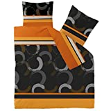 CelinaTex Winter Bettwäsche 200x200 Microfaser Fleece Bettbezug mit 80x80 Kissenbezug Style Bettgarnitur Evita Streifen Kreise braun schwarz orange grau 5000188