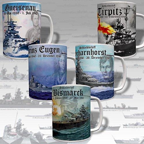 Schlachtschiff Set Bismarck Tirpitz Scharnhorst Gneisenau Marine - Tasse #16982 -