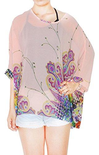 Oksakady Frauen Lose T-Shirt Chiffon Batwing Ärmel Bluse Plus Size Tunika BOHO-14