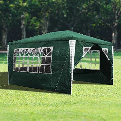wolketon 3x4m Gartenpavillon Stabiles hochwertiges Pavillons UV-Schutz Garten Strand Partyzelt Grün mit 4 Seitenteilen Praktischer zelt
