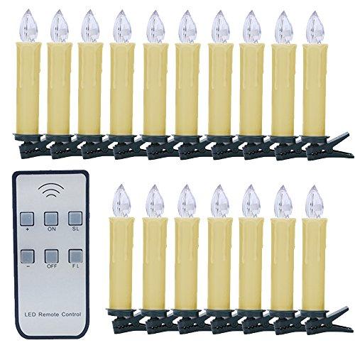 Weihnachtskerzen SANVA 10/20/30/40 Stück LED Kerzen Warmweiß Licht Dimmbar Kabellose Kerzenlichter Flammenlose für Weihnachtsbaum,Weihnachtsdeko,Geburtstags, Hochzeit, Party,Feiertag (A:warmweiß-beige, 10x)