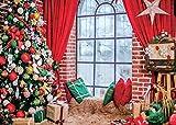 AIIKES 7x5FT Sfondo Natalizio Cuscino Invernale Finestra Albero di Agrifoglio Regalo Moquette Fondali per Tende Natale Decorazione per Feste Fotografia Sfondi Studio Puntelli 11-699