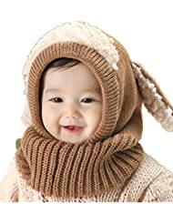 Sumolux Gorras Sombrero con Bufanda Set Con Orejas Tejito Bebé Niñas Niños Invierno Cálido Linda