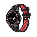 DIGGRO DI02 - Smartwatch mit Herzfrequenz Sensor (Uhr, Bluetooth4.0, Armbanduhr, NFC, Bluetooth Telefon, Pulsmesser Aktivitätstracker Schrittzähler Schlafanalyse Kalorienzähler für ios Android) … (Black&Red)