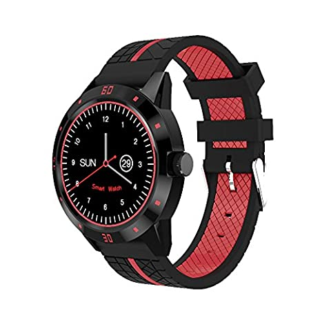 DIGGRO DI02 Bluetooth Smart Watch, 1.3inch Wrist Watch MTK2502C 128MB+64MB Smartwatch Bracelet with Heart Rate Monitor/ Pedometer/ Sleep Monitor/ Call Reminder/ Remote Camera for Android IOS Smartphone (Red-Silicone
