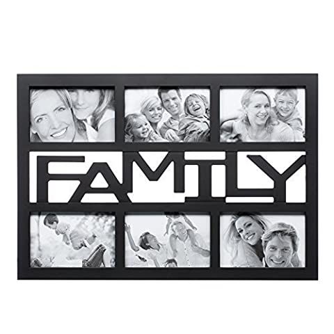 6 Aperture 34cm x 46cm Love Family Photo Frame Wall Display - Holds 6 Pictures (Family - Black)