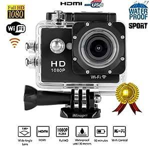 WINUP® XTC-PRO WIFI V2 Caméra sport étanche d'action Full HD 12MP type GoPro (Caméra embarquée, sportive, pour casque, mini camescope haute définition 1080P pour sports extrêmes)