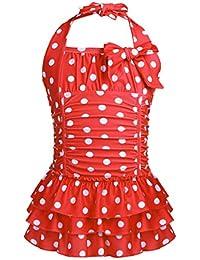 387a793cc4746 iiniim Kids Girls Halter One Piece Swimsuit Ruffle Polka Dot Swimwear  Swimming Costume Summer Swim Dress