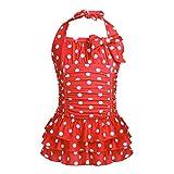 YiZYiF Mädchen Bikini Einteiler Badeanzug Tankini Polka Dots mit Röckchen Neckholder Badekleidung Gr. 104 116 128 140 152 164 Rot 158-164