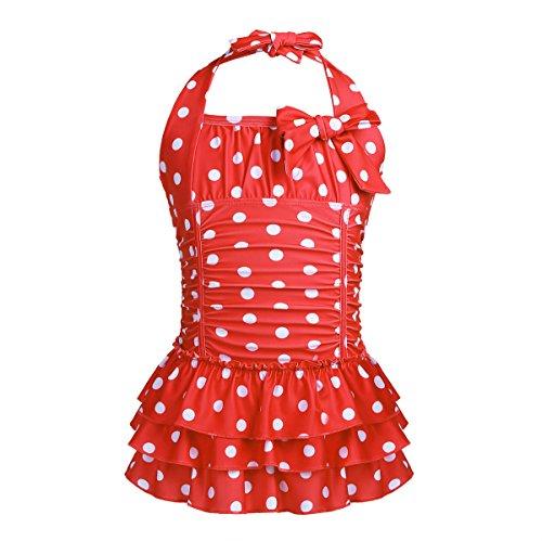 iiniim Kids Girls Halter One Piece Swimsuit Ruffle Polka Dot Swimwear Swimming Costume Summer Swim Dress