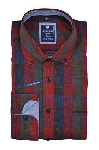 Redmond - Regular Fit - Herren Flanell Hemd mit Button-Down Kragen (62120111/62120333) Rot(50)