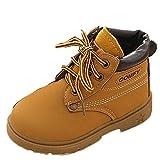 Unisex Baby Warm Gefütterte Boots Schneestiefel Zhen+ 1-3 Jahre Jungen Mädchen Kurze Stiefel PU-Leder Martin Schuhe Winter Freestyle Rutschfest Britische Wind Warme Schuhe (24-28 Monate, Gelb)