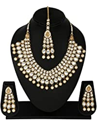 Traditional Jewellery Kundan Necklace Set With Maang Tika And Earrings For Women - B07F877H7G