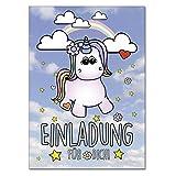 codiarts Einladung 12-er Kartenset mit Niedlichem Einhorn, Regenbogen, Einladungskarte für Geburtstags-Party, leicht zum ausfüllen, Format Din A6