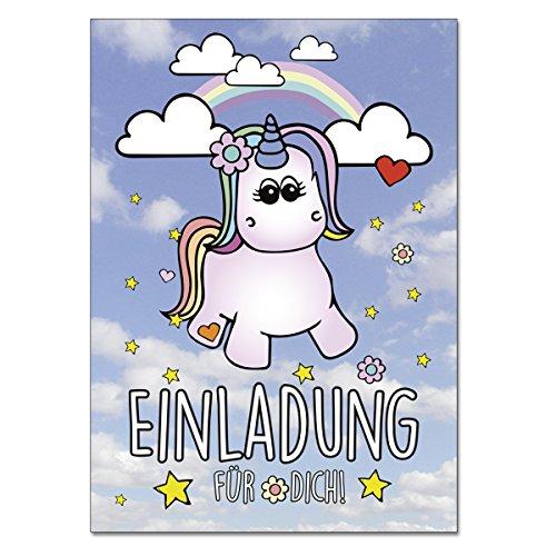 (codiarts Einladung 12-er Kartenset mit Niedlichem Einhorn, Regenbogen, Einladungskarte für Geburtstags-Party, leicht zum ausfüllen, Format Din A6)