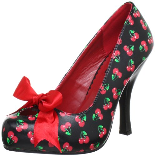 Pin Up Couture CUTIEPIE-06 Damen Pumps, Schwarz (Blk-red pu (cherries print)), EU 39 (UK 6) (US 9)